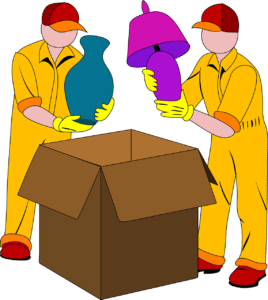 Drawing of movers packing lamps into boxes for moving