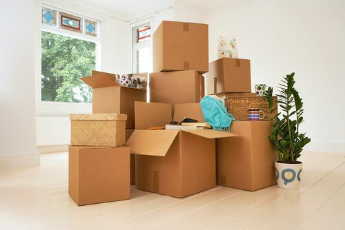 Boxes stacked for moving