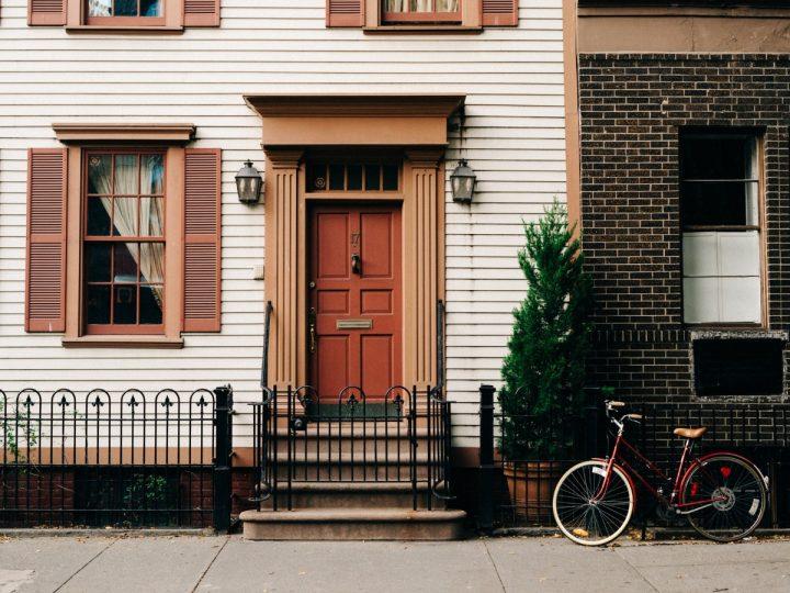 house with orange front door
