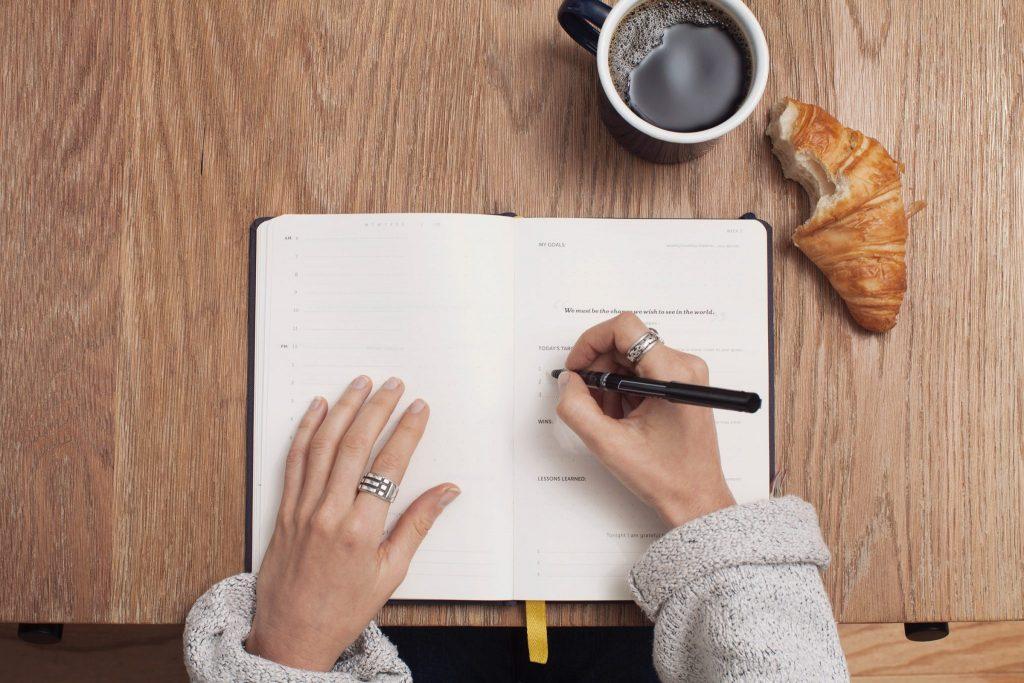 notebook, coffee