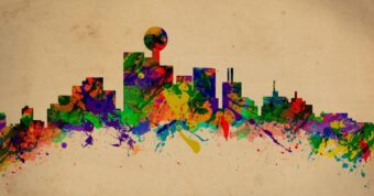 The Dallas Skyline in colorful dripping paint