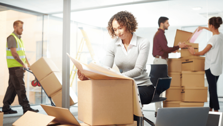 People in Office Moving