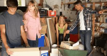 Family struggling with garage organization